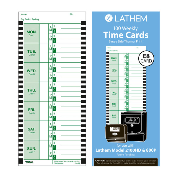 E8 100 Weekly Thermal Print Time Cards 100 Pack